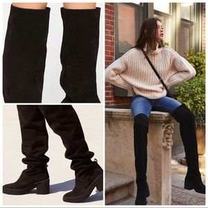 NIB Free People Suede Over The Knee Slouch Boots